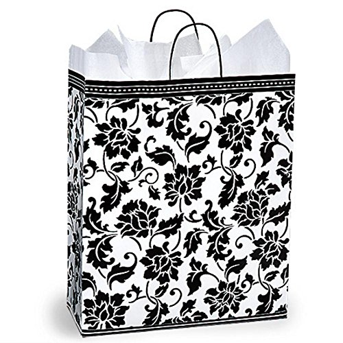 Floral Brocade Paper Shopping Bags - Queen Size - 16 x 6 x 19in. - 200 Pack by NW