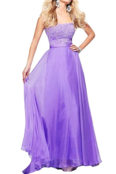 Raniwish Strapless Prom Dress for Juniors Maxi Lace Evening Gowns Plus Size -2-Lilac