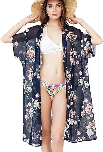 VEZARON Beach Cover ups for Women S, White Sheer Chiffon Causal Loose Cardigan Short Sleeve Swimsuit Swimwear Beachwear