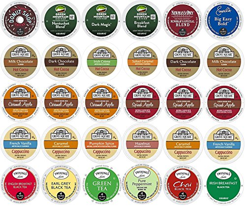 30-count K-cup Variety Pack for Keurig Brewers including Coffee, Cocoa, Tea & Cappuccino Featuring Green Mountain, Coffee People, Newman's Organics, Emerils, Grove Square, Twinings.