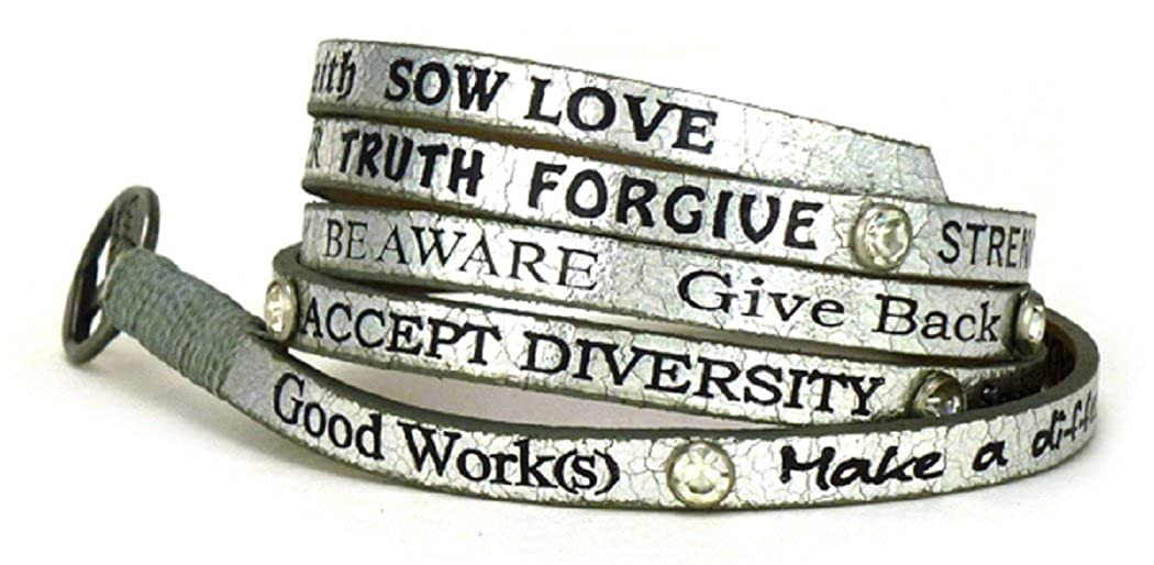 Good Works Metallic Wrap Bracelet W/ Crystals - Silver HWACS3051-SIL