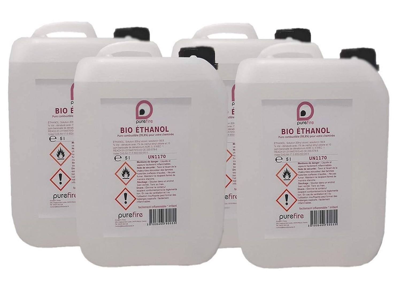 Bio ethanol, alto rendimiento, 4 Jerrycan de 5 L) 20 litros), total 99,8% Pure combustible para chimenea mó vil o de exterior, purefire, combustió n de gran calidad Ne gé nè re pas de humo ni de olores