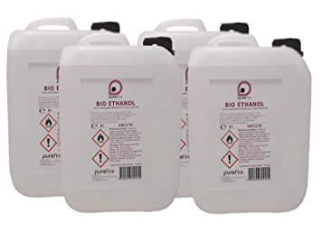 Bio ethanol, alto rendimiento, 4 Jerrycan de 5 L) 20 litros), total 99,8% Pure ...