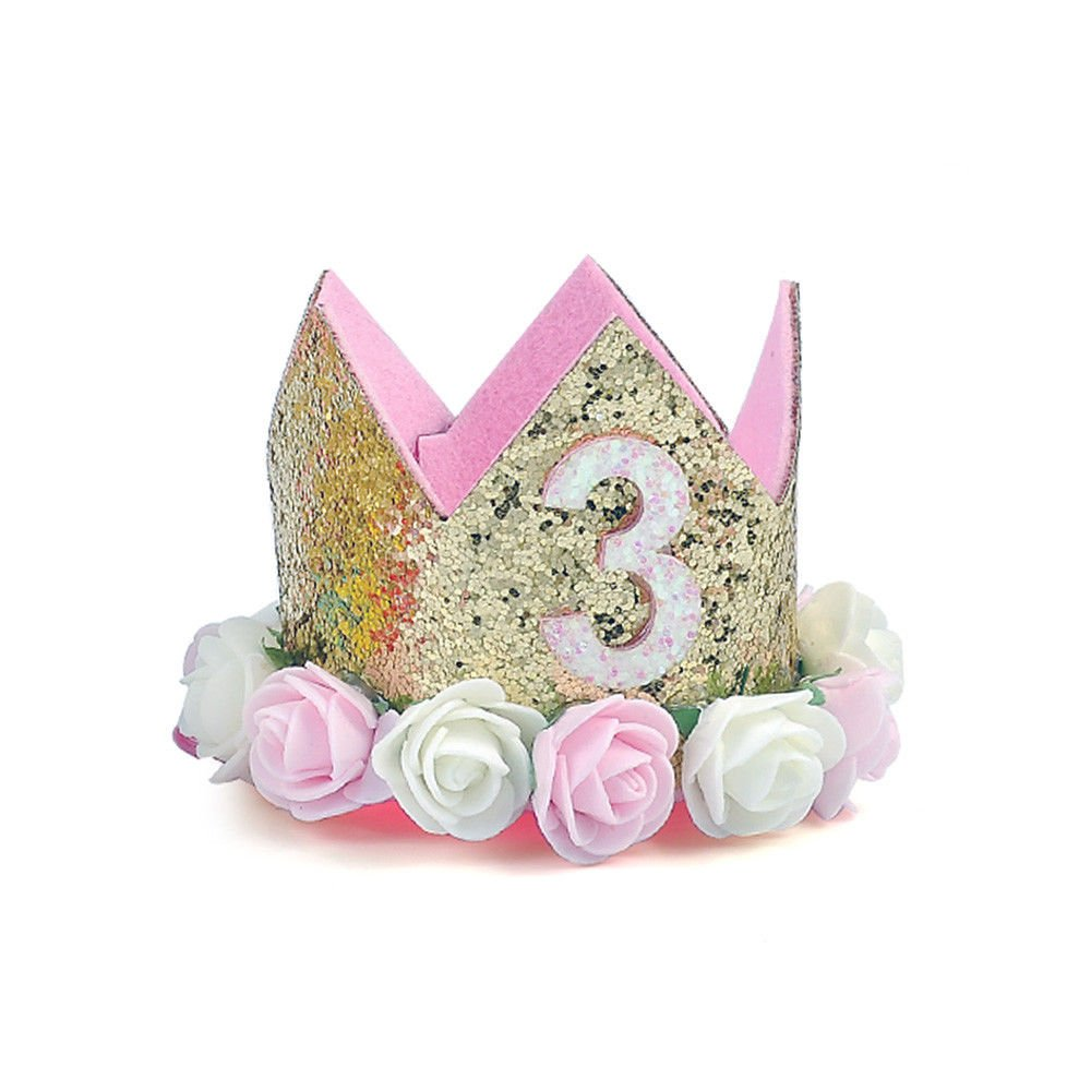 Neonate // Primo Compleanno Cappello Scintillante Oro Fiore Stile Con Fiore di rosa artificiale Tiara Fascia Per Capelli Festa Mezzo Anno MAXGOODS Principessa Tiara Corona
