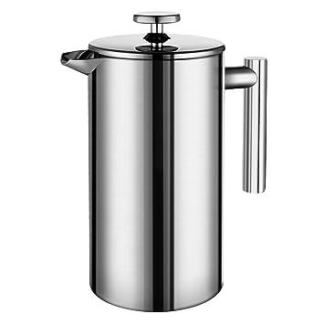 Honsdom Cafetera Francesa, Cfetera Acero Inoxidable, Cafetera de émbolo de Acero Inoxidable con 2 Filtros - 350ml