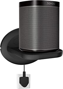Sonos Speaker Wall Mount Shelf Holder for Sonos One (Gen 2)- Google Nest Mini, Google Nest WiFi - Adjustments for Best Audio, Hold up to 15 lbs - Black