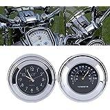 calistouk Universal Motorcycle Handlebar Mount Clock Dial Reloj y termómetro temp 7/8