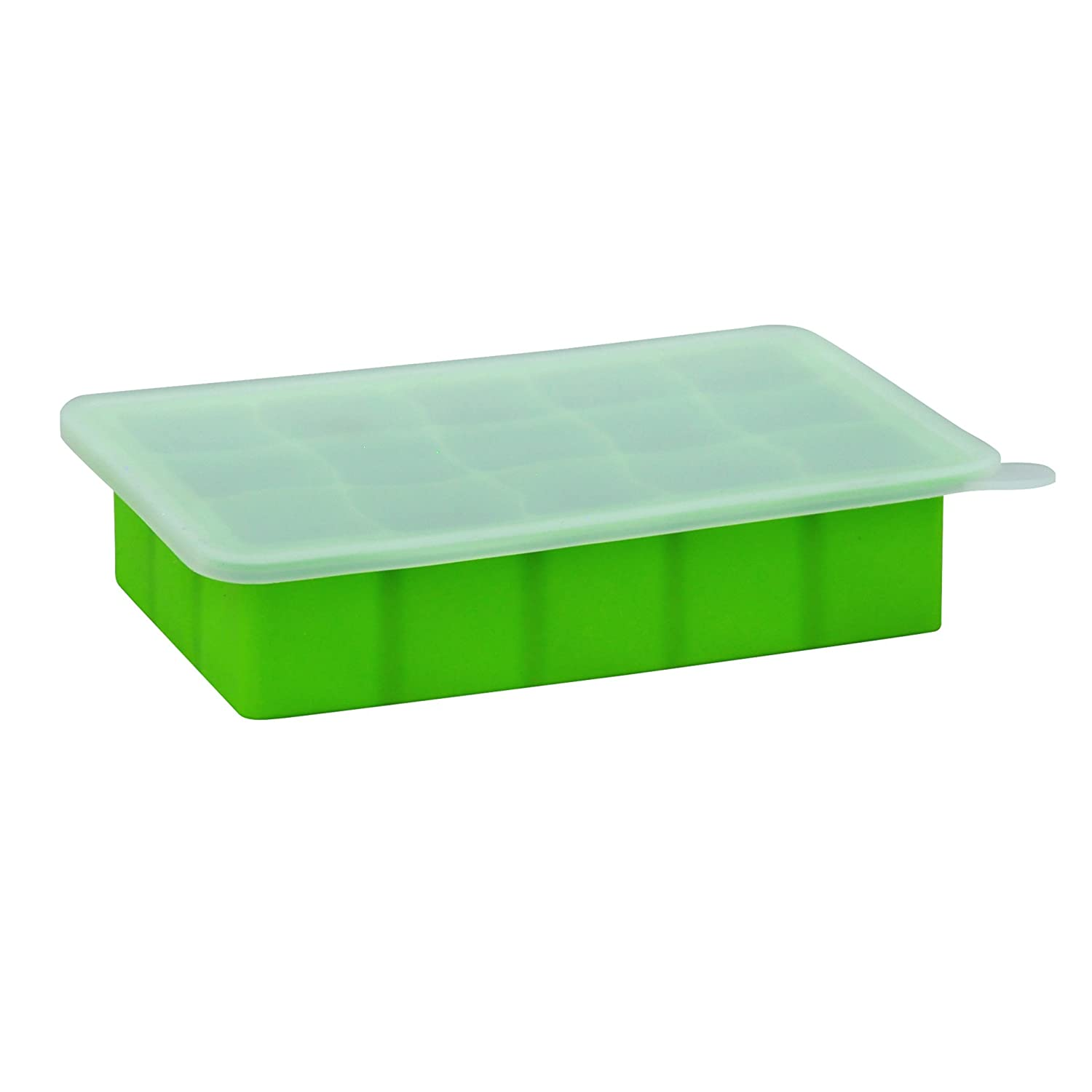 green sprouts Fresh Baby Food Freezer Tray| Perfectly portioned for baby's first feedings | Clear lid for covering food & stacking trays, Flexible for easy removal, Dishwasher safe
