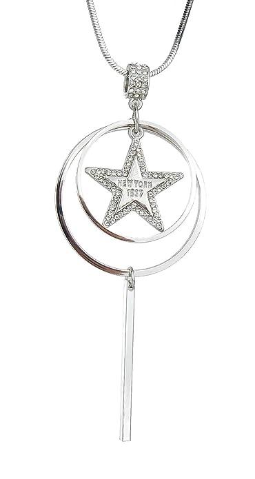 Longue chaîne avec pendentif étoile argent strass by Ella Jonte Anneaux b0281edc817