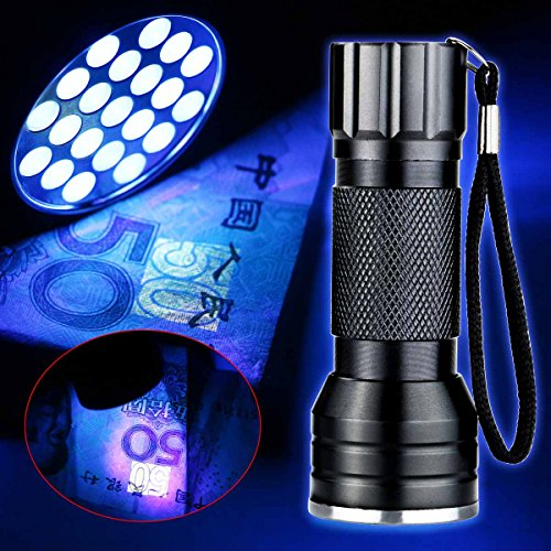 [Enjoydeal UV Ultra Violet 21 LED 395nm Flashlight Mini Blacklight Aluminum Torch Lamp] (Led Aluminum Torch)