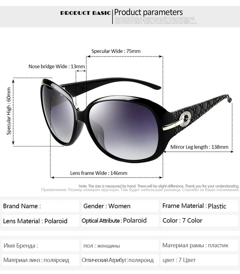 b80bac6a0b4e Joopin Women Polarized Sunglasses Woman Butterfly Big Frame Fashion  Polaroid Sun Glasses (Black)