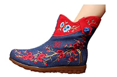 c5af37e22074 Tianrui Crown Women and Ladies The Plum Blossom Embroidery Fall Ankle Boot  Shoe Blue