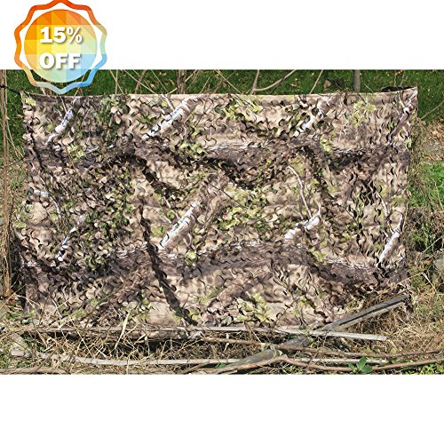AUSCAMOTEK 300D Woodland Camo Netting Camouflage Netting for Hunting Blinds Camping Shooting Party Decoration Green 5ft×10ft(appro.)/1.5m×3m Turkey Hunting Blinds