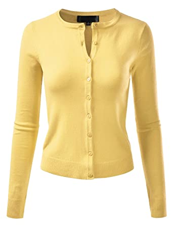 9bee1a30fc EIMIN Women s Crewneck Long Sleeve Button Down Stretch Knit Cardigan Sweater  BABYYELLOW S