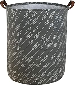 Sanjiaofen Canvas Fabric Storage Bins,Collapsible Laundry Baskets,Waterproof Storage Baskets with Leather Handle,Home Decor,Toy Organizer (Arrows)