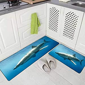 """Musesh 2 Pieces Kitchen Rugs and Mats Non Skid Washable Cage Diving with Great White Sharks in Mexico Guadalupe Kitchen Rug Set 17""""X48""""+17""""X24"""" Kitchen Carpets and Rugs Modern Kitchen Rug"""
