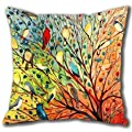 "Onker Cotton Linen Square Decorative Throw Pillow Case Cushion Cover 18"" x 18"" New Illustration Painting Hundreds of Birds"