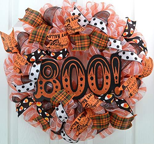 (Halloween Door Wreaths | Orange Boo Mesh Welcome Outdoor Front Door Wreath; Black White Polka)