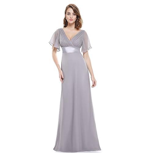 Ever-Pretty Womens Short Sleeve V-Neck Long Evening Dress 09890