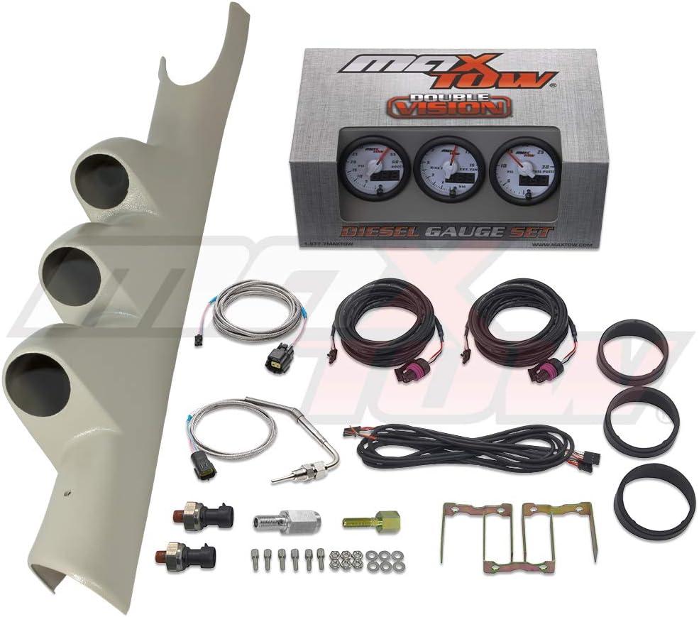 GlowShift Diesel Gauge Package for 1998-2002 Dodge Ram Cummins 1500 2500 3500 Black Full Size Dual Pillar Pod Black 7 Color 60 PSI Boost /& 1500 F Pyrometer EGT Gauges
