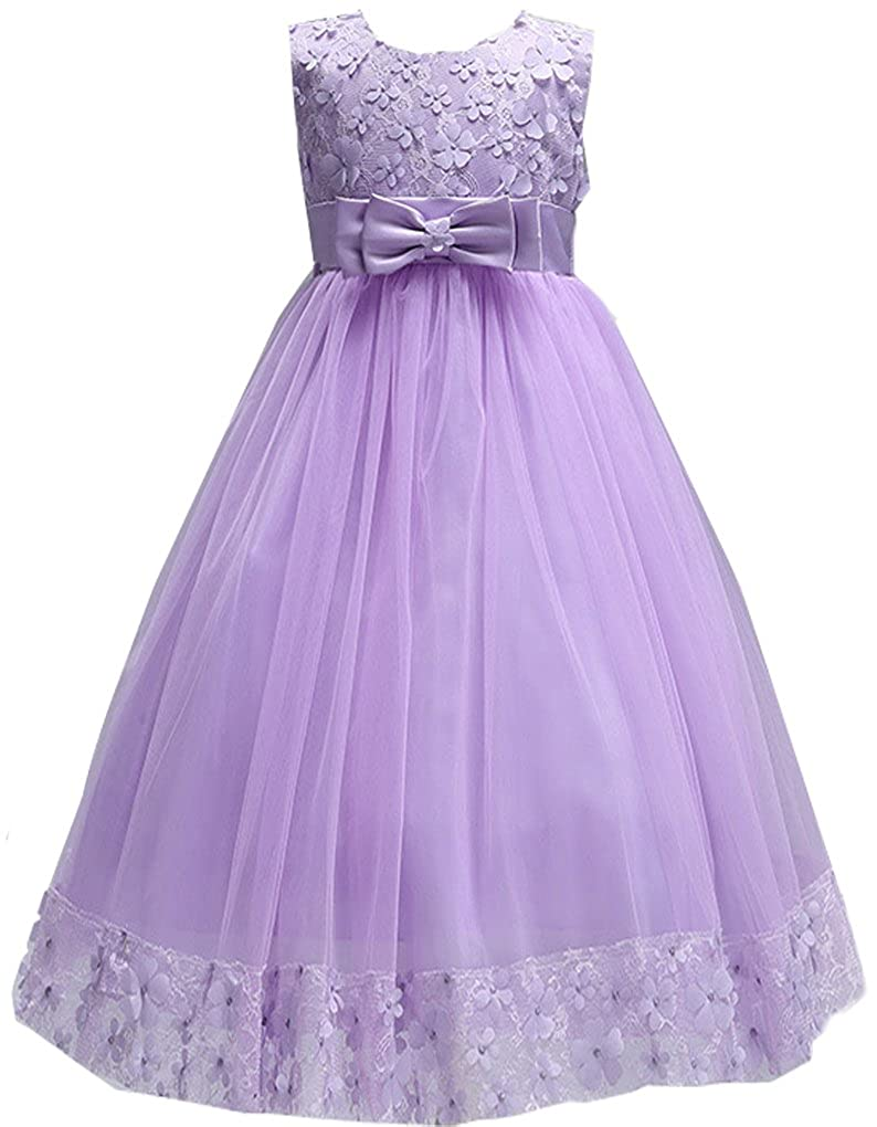 Shiny Toddler Little//Big Girls Embroidered Applique Flower Girl Pageant Dress