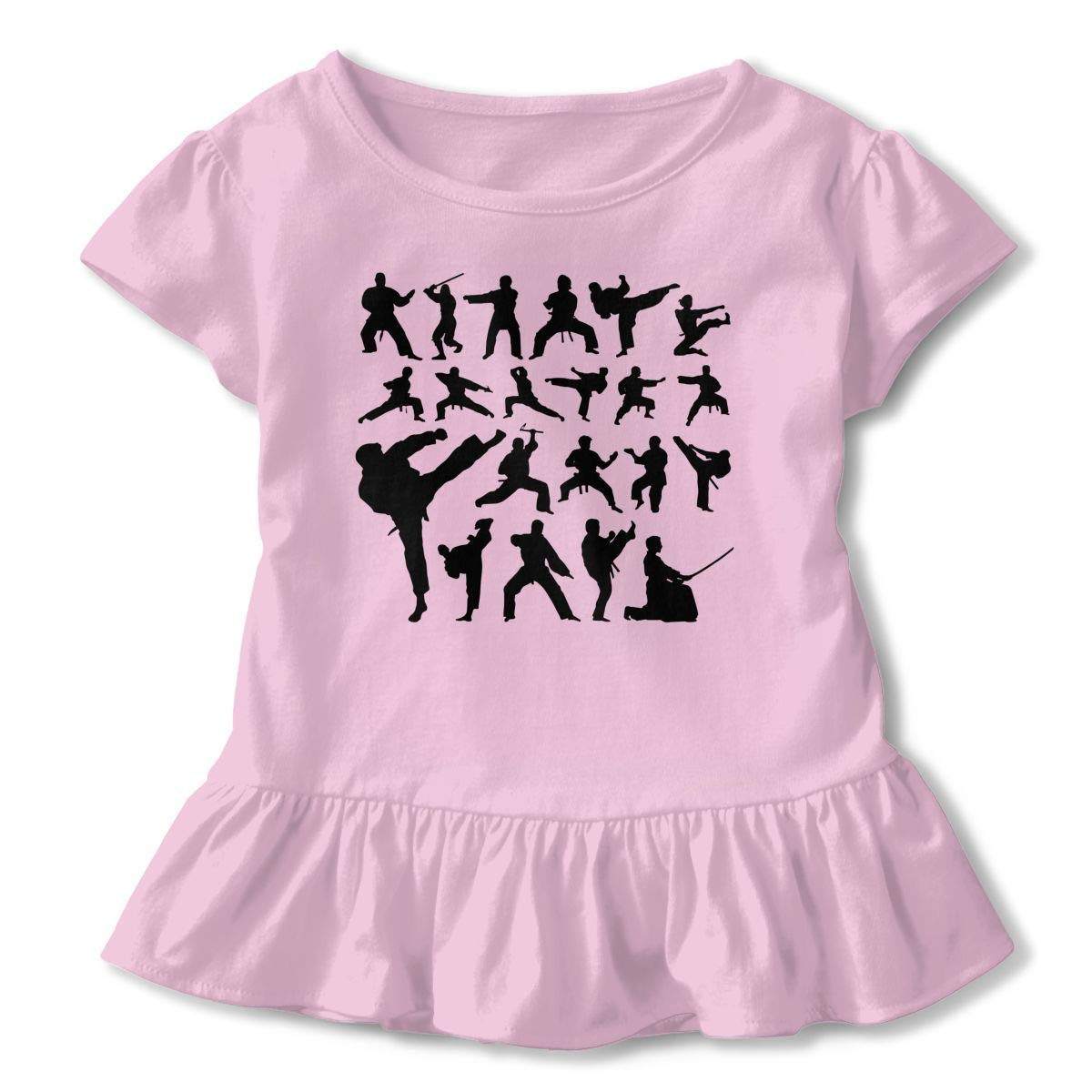 Variety of Martial Arts Action Silhouette Baby Girls Short Sleeve Ruffles T-Shirt Tops 2-Pack Cotton Tee