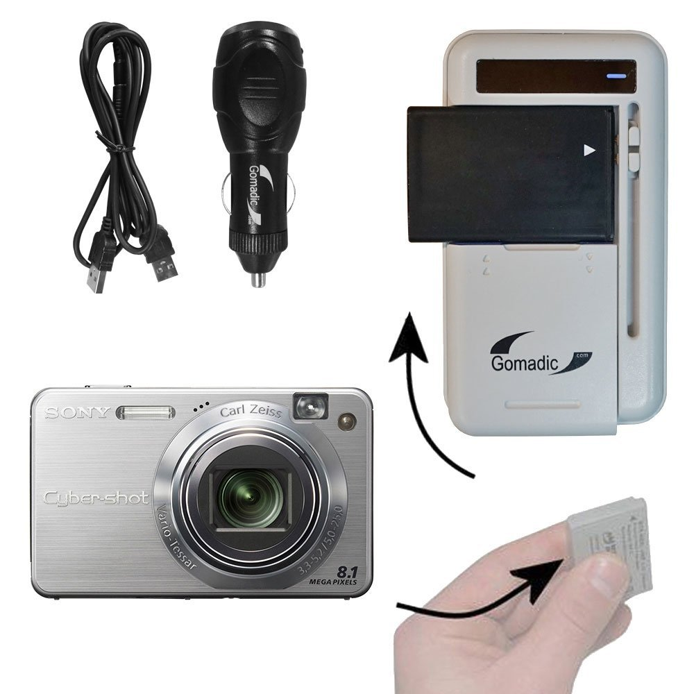Battery Charger Kit Compatible with Sony Cyber-shot DSC-W150 – Contains multiple charging options, including AC Wall, DC Car and USB Port