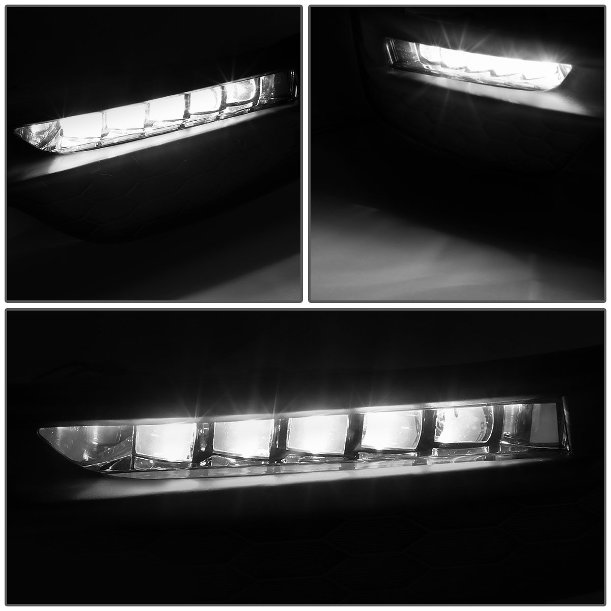 Bezels Switch 16-17 Honda Accord DNA Motoring FL-ZTL-257-AM Pair of Amber Lens LED Fog Light