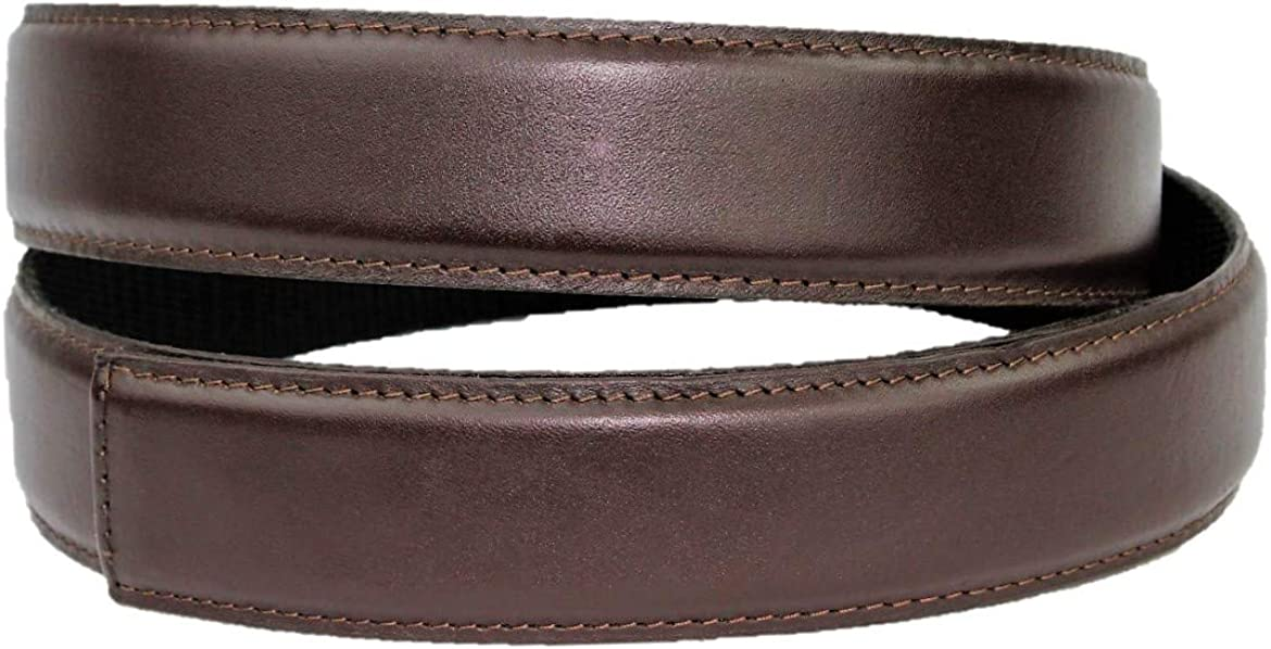 no holes belt Chocolate brown color Magnetic technology Accessory buckle included Leather Belt /& Buckle