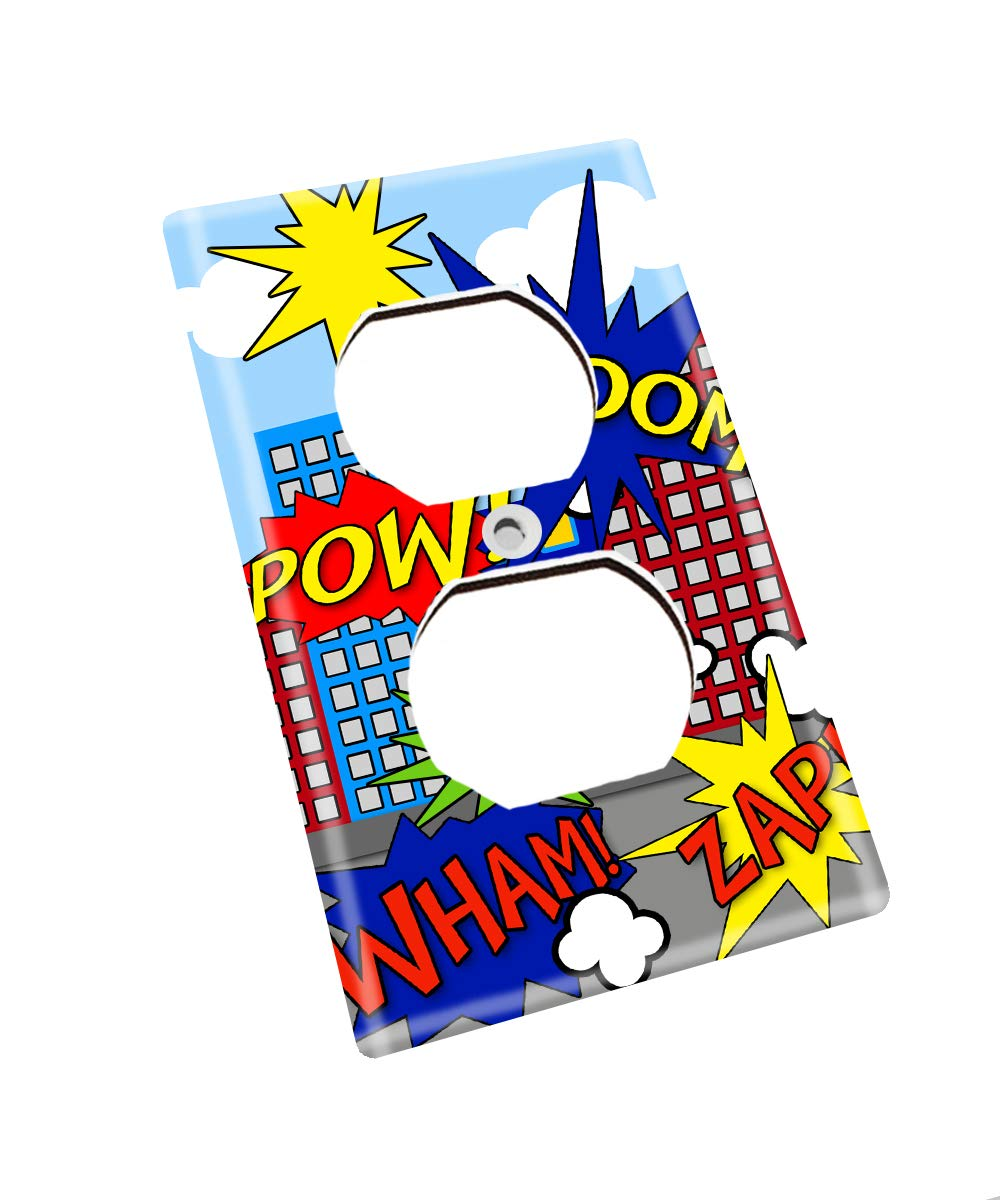 Super Hero Boys Kids Bedroom Baby Nursery Single Light Switch Cover LS0059 Single Outlet