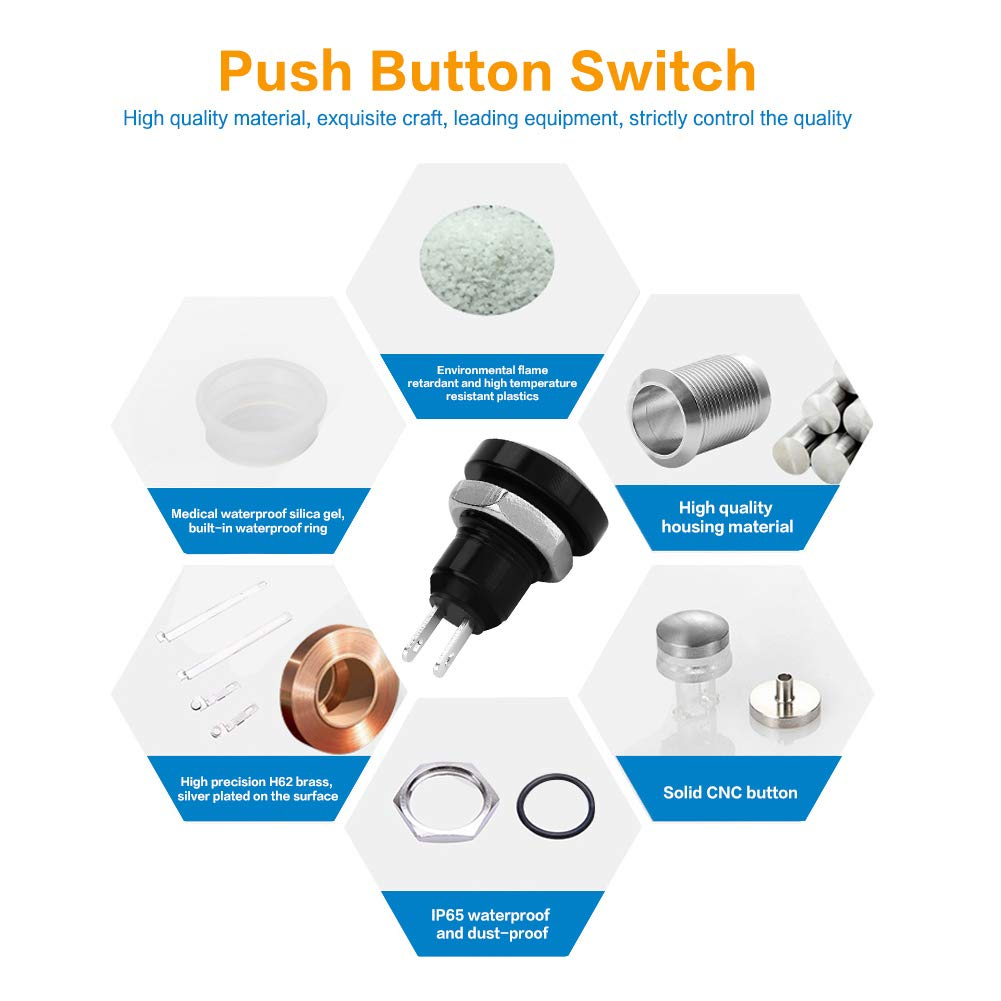with Exquisite CNC Housing 1A 24V 8mm Mini Car Auto Vehicle Zinc-Aluminium Alloy Momentary Push Button Switch Black Car Push Button