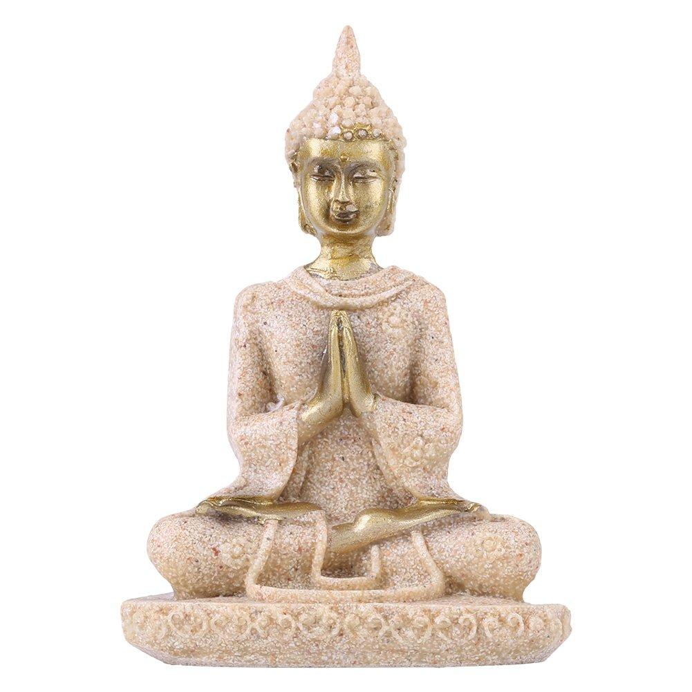 Buddha Statue, Sandstone Buddha, Amitabha Buddha Figurine Praying, Eastern Enlightenment Buddhism For Home Altar Zen Decoration Housewarming Gift Walfront EXPSFN021237