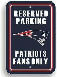 "Fremont Die NFL New England Patriots Team Sign, 12"" x 18"", Reserved Parking Sign"