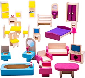 Bigjigs Toys Heritage Playset Wooden Doll Furniture Set - 27 Pieces