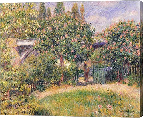 Railway Bridge at Chatou, 1881 by Pierre-Auguste Renoir Canvas Art Wall Picture, Gallery Wrap, 14 x 12 inches