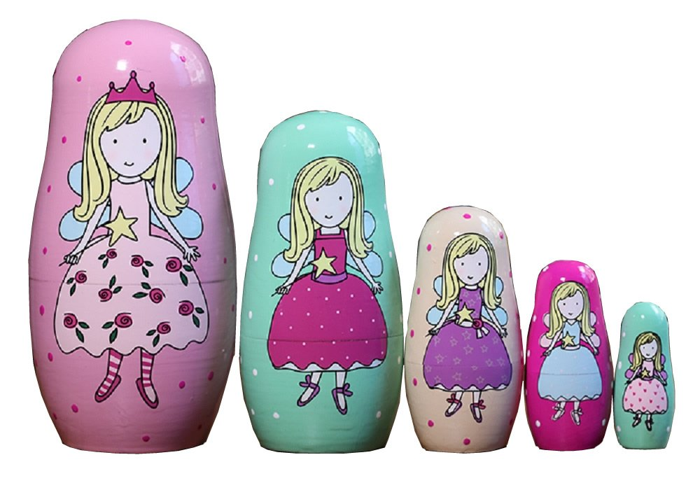 NY 5pcs Cute Funny Pink Fairy Wooden Russian Nesting Dolls/Matryoshka Gifts Kids