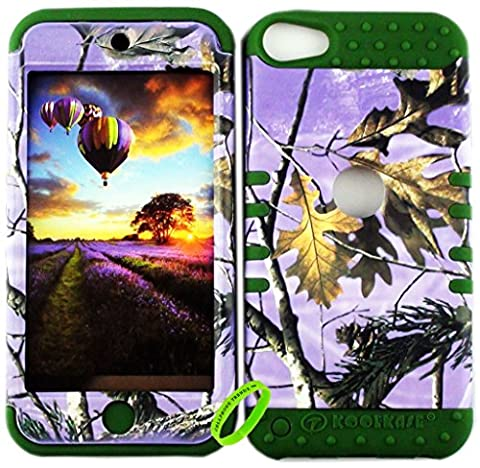 Cellphone Trendz Dual Layer Soft Hard Hybrid Heavy Duty Protective Cover for Apple iPod Touch 5 & 6th Generation -Purple Camo Real Hunter Series Mossy Oak Branch Leaves Tree Design on Dark Green (Real Tree Camo Case For Ipod 5)