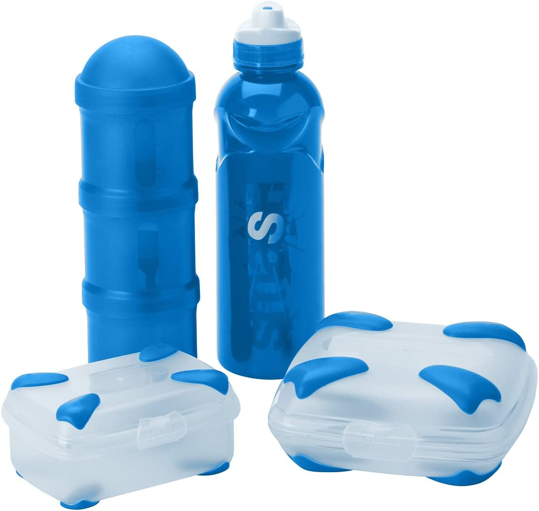 Nude Food Movers by Smash Rubbish Free Lunch Kit with Sandwich Box, Stealth Water Bottle, and Triple Snack Tube, 10.9 oz, Blue