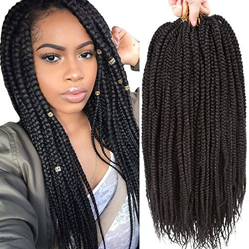 VRHOT 6Packs 18'' Box Braids Crochet Hair Small Synthetic Hair Extensions Dreadlocks Twist Crochet Braids Hairstyles Kanekalon Braiding Hair Braid Styles Long for Black Women 1B 18 inch (18 inch, 1B#) by VRHOT