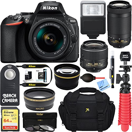 Nikon D5600 24.2 MP DSLR Camera + AF-P DX 18-55mm & 70-300mm NIKKOR Zoom Lens Kit + Accessory Bundle by Beach Camera