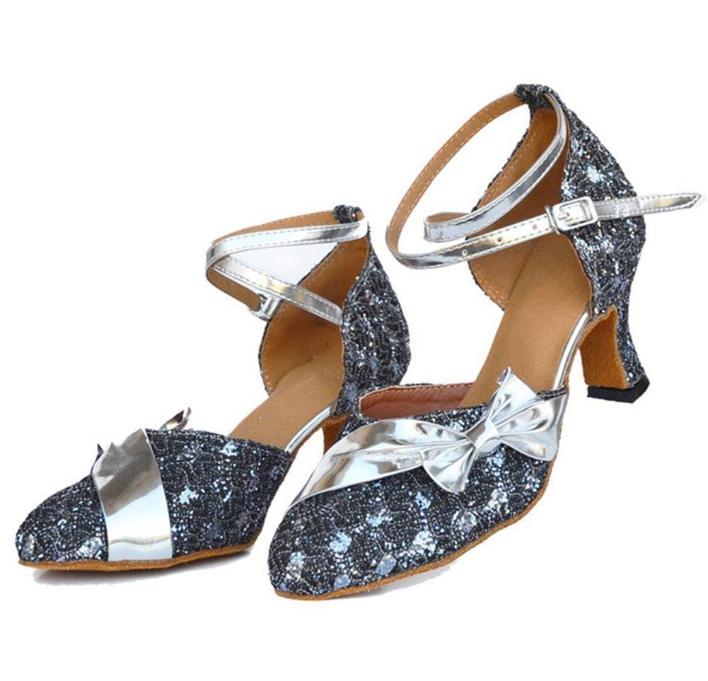 Byjia damen Closed Toe Toe Toe High Heel Pu Leder Glitzer Salsa Tango Ballsaal Latin Cross Strap Dance Schuhe Grau B074QG3XLF Tanzschuhe Fairer Preis 8a150f