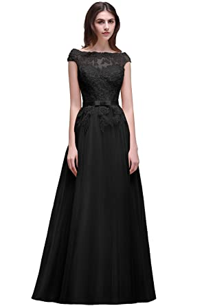 Sheer Tulle V Back Evening Dresses Prom Gown With Beads Appliques (Black,2)