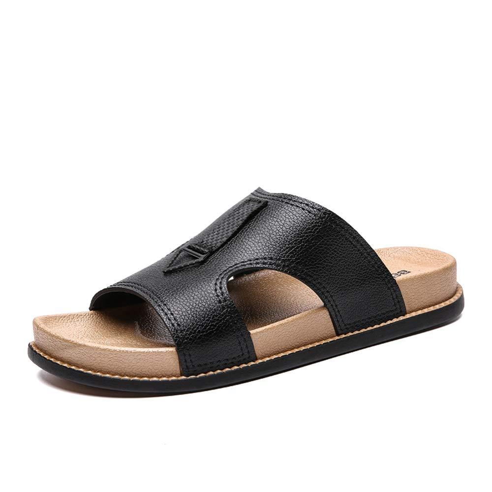 Qimingwei Chaussures d'été en Cuir PU pour Hommes Pantoufles Slip on en Cuir Microfibre Simples Sandales Flexibles Preuve de Choc intérieur et extérieur (Color : Noir, Taille : 40 EU)