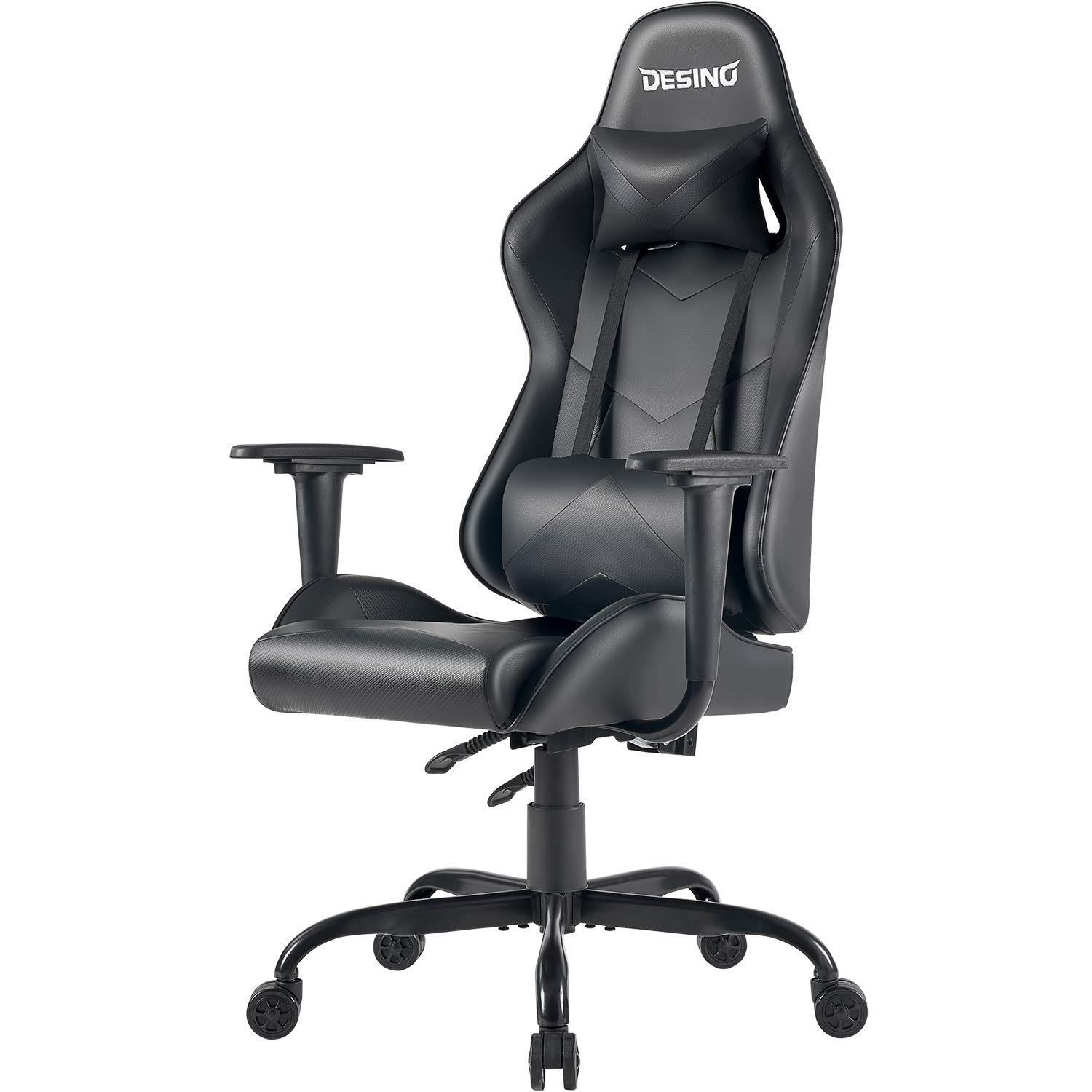 DESINO Gaming Chair Racing Style Home Office Ergonomic Swivel Rolling Computer Chair with Headrest and Adjustable Lumbar Support for Adults Kids Black