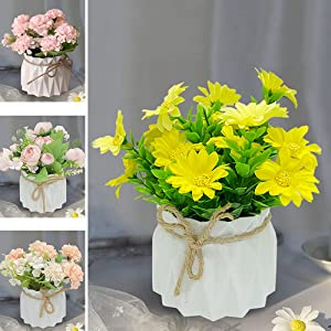 Fake Flowers Decoration, Potted Artificial Flowers, Home Decoration, Artificial Flowers in Vase Decor, Fake Plants Flower Arrangements Decor for Desktop, with vase.(6 in)(Daisy)