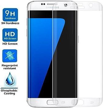 REY Protector de Pantalla Curvo para Samsung Galaxy S7 Edge Cristal Vidrio Templado Premium: Amazon.es: Electrónica