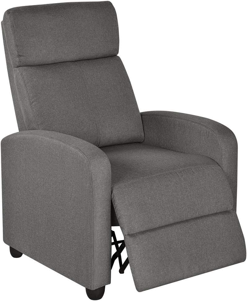 Yaheetech Fabric Recliner Sofa Modern Single Recliner Sofa Home Theater Seating with Thick Seat Cushion, Backrest and Pocket Spring, Gray