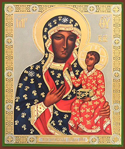Our Lady of Czestochowa Black Madonna Russian Icon Wood 4 1/2 Inch