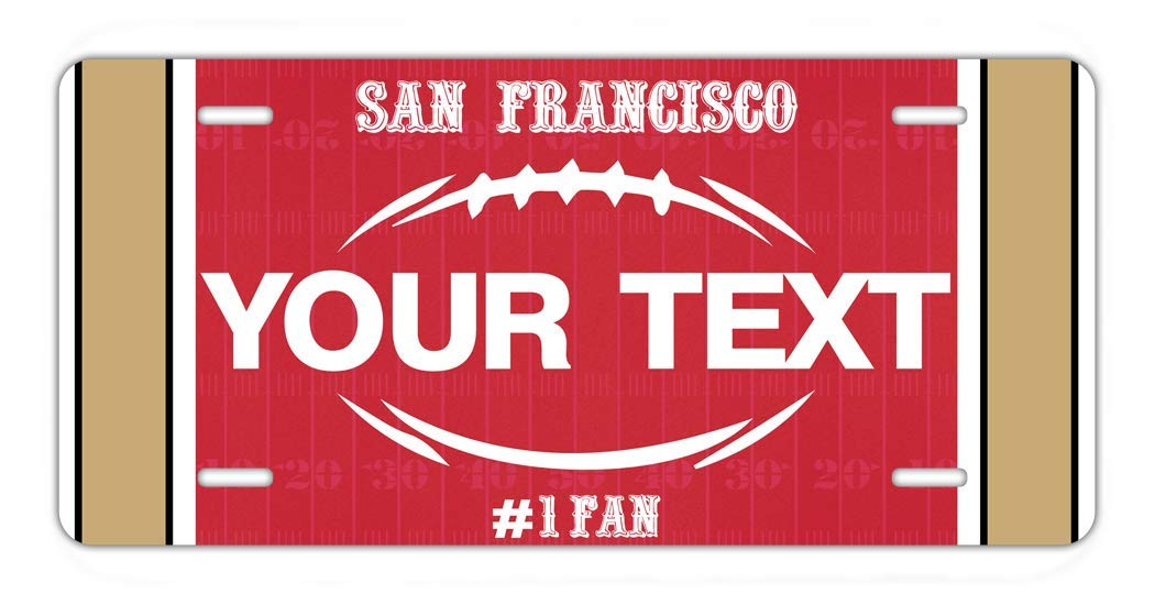 BRGiftShop Personalize Your Own Football Team San Francisco Car Vehicle 6x12 License Plate Auto Tag
