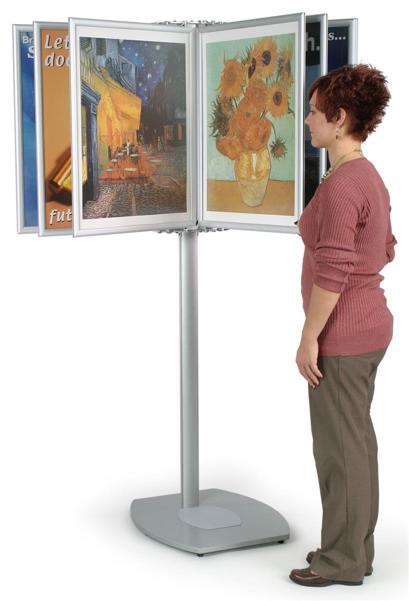Brushed Aluminum Finish Panel Display System For Displaying (20) 22 x 28-Inch Posters, 21 x 72 x 26-1/2-Inch, 130-degree Viewing Angle, Double-sided Display, Free-standing Fixture